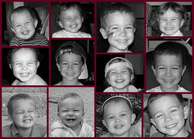 Cheesy grin collage