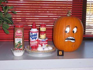 Pumpkin scared of pie