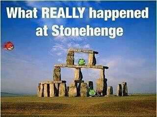 Angry birds at stonehenge